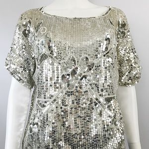 Vintage Retro Womens Large Sequin Top Blouse Loose